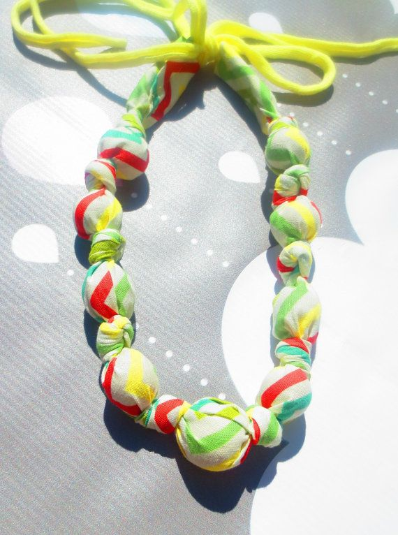 Fabric Nursing Necklace Knotted Necklace Wood Teether