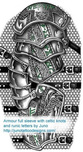 """Cool armor """"sleeve"""" tattoo with Celtic knot work!!"""