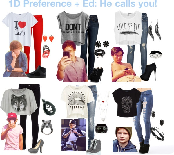 """""""1D Preference + Ed: He Calls You!"""" by mugglehufflepuff ❤ liked on Polyvore"""