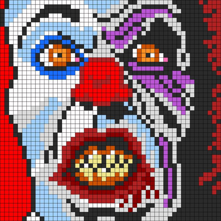 Pennywise The Clown From IT For Perler Or Square Stitch bead pattern. Perler bead patterns make AWSOME granny square patterns :) totally doing a blanket like this