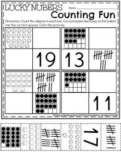 Kindergarten math worksheet for March. Great counting and subitizing practice.