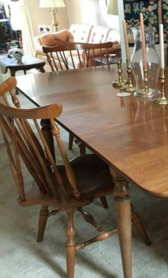 Ethan Allen Dining Set Table Chair Nutmeg Windsor Gateleg Mom
