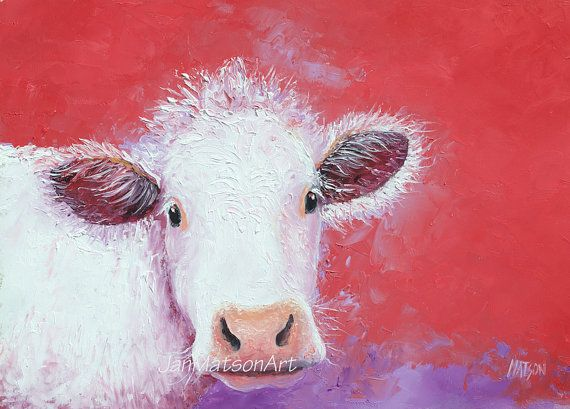 Cow painting FRAMED oil painting kitchen wall art by JanMatsonArt