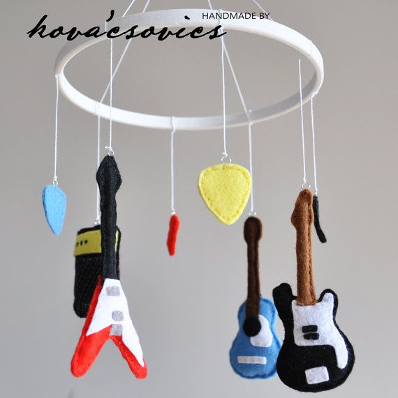 Crib mobile nursery decoration guitars electric and for Acoustic guitar decoration ideas