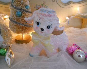 Vintage rosa baby ricci agnello spaghetti vivaio fioriera, grande, relpo Giappone, timbrato 1961, tutti i colori pastello e ceramica bianca