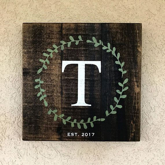 Monogram Wedding Gift Wood Sign Rustic CUSTOM pallet sign
