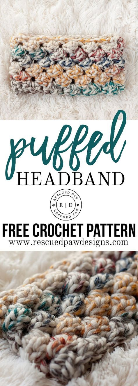 Puffed Headband Crochet Pattern - A FREE crochet pattern from Rescued Paw Designs