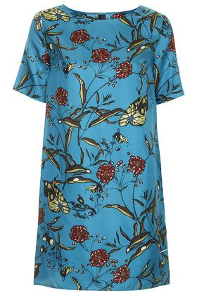 Fable Print Silk Slashed Back Dress by Boutique