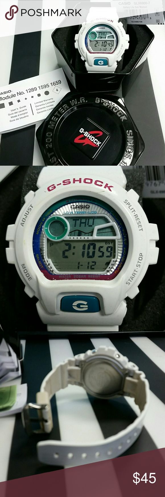 G-Shock by Casio Multi-Function White Watch White G-Shock Watch by Casio (GLX6900-7)  Used with normal signs of wear. Includes original box, manual and retail price tag. Working battery.   Shock Resistant & 200M Water Resistant Full Auto Backlight with Afterglow (Teal) 29 times zones (48 cities) 4 Multi-Function Alarms and 1 Snooze Alarm Size of case/total weight: 53.2 x 50.0 x 17.7mm / 65g  Full specs: http://www.gshock.com/watches/Others/GLX6900-7 G-Shock Accessories Watches