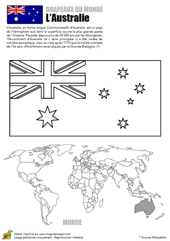 A colorier, le drapeau de l'Australie
