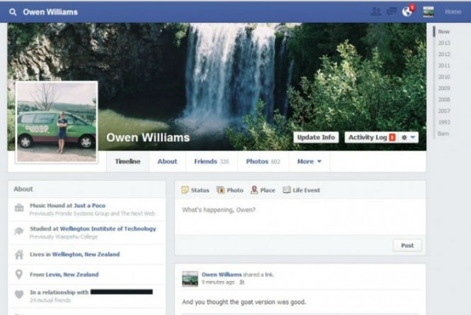 São Paulo - O Facebook está testando um novo modelo de Timeline com usuários da Nova Zelândia. A nova versão deixa mais limpo o cabeçalho superior, onde está localizada a foto de capa do usuário.