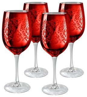 Artland Inc. Red Brocade Wine Glasses - Set of 4 - modern - cups and glassware - by Hayneedle