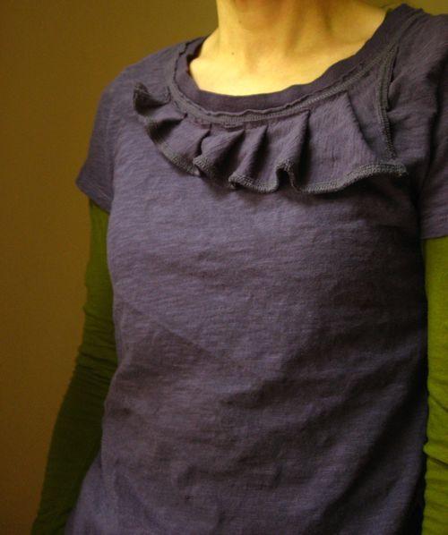asymmetrical ruffle neckline shirt
