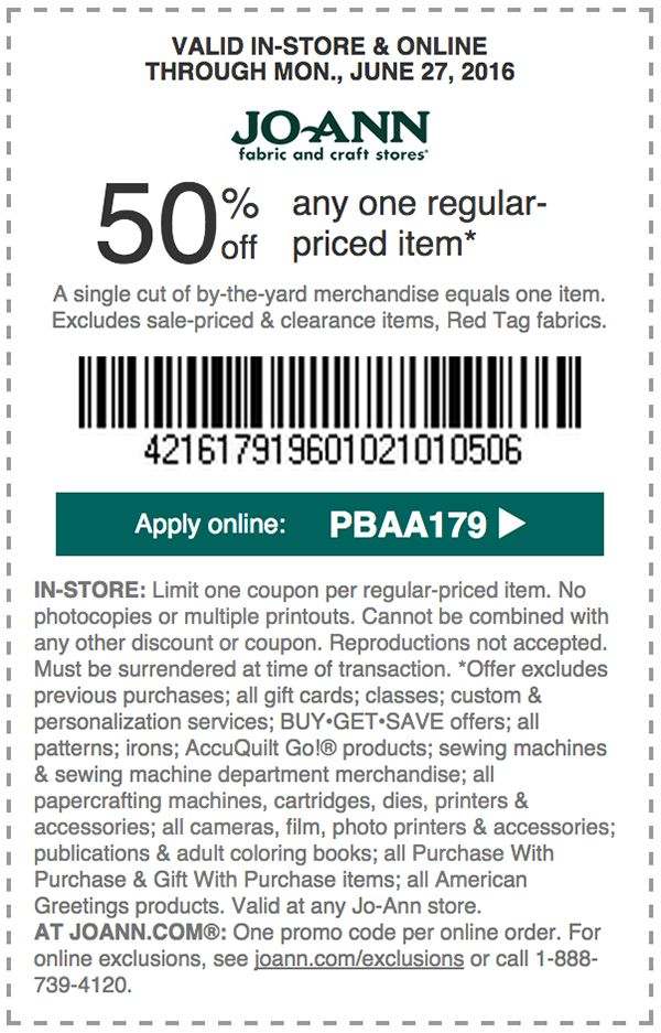 95 best JoAnn Fabrics Coupons / Discounts images on Pinterest ...