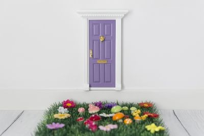 Fairy Door With Grass & Flowers