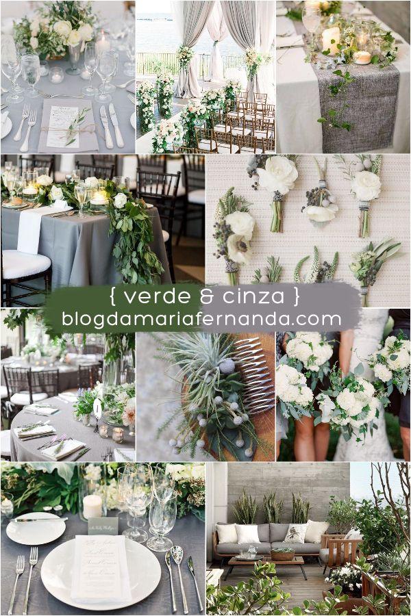 Decoração de Casamento Paleta de Cores Verde e Cinza   Blog de Casamento DIY da Maria Fernanda
