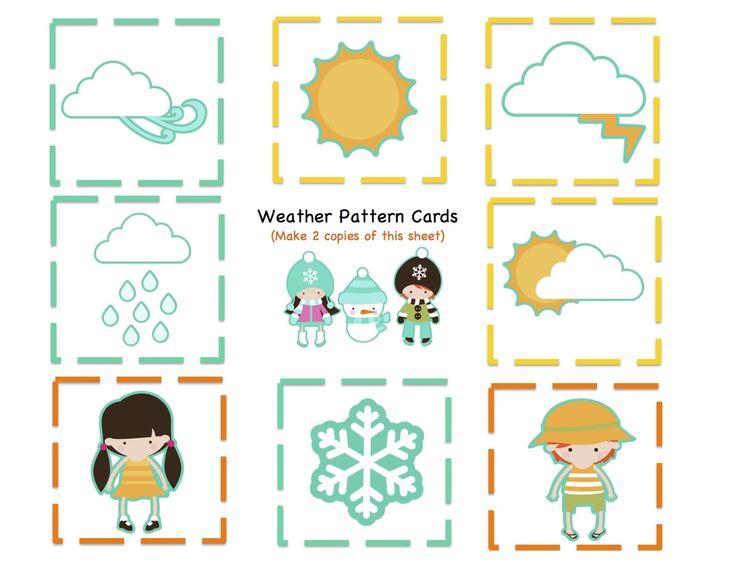 preschool printables weather kids number pattern cards work fun pinterest preschool. Black Bedroom Furniture Sets. Home Design Ideas