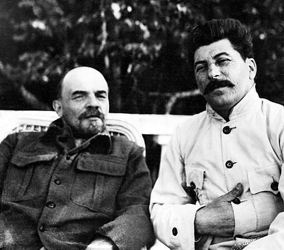 Vladimir Lenin and Joseph Stalin posing for a photograph. Gorky (Russia), 1924 [555X489]