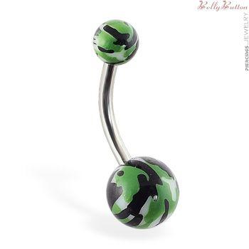 :o a camo belly button ring! WANTWANTWANT!! ♥!