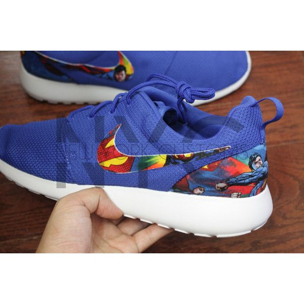 Nike Roshe Run Blue It's Superman Superhero Custom Men ($150) ❤ liked on Polyvore featuring shoes, athletic shoes, black, sneakers & athletic shoes, unisex adult shoes, unisex shoes, comic book, black shoes, kohl shoes and blue shoes