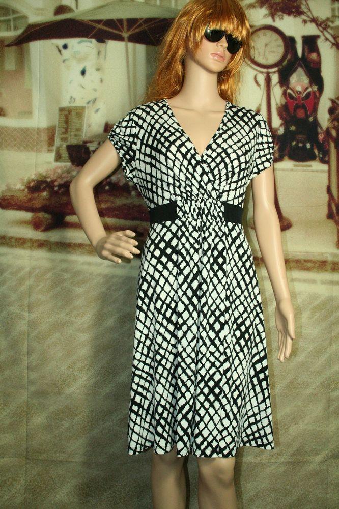 Apt. 9 Petite dress cap sleeve black white size PL #Apt9 #EmpireWaist #Festive