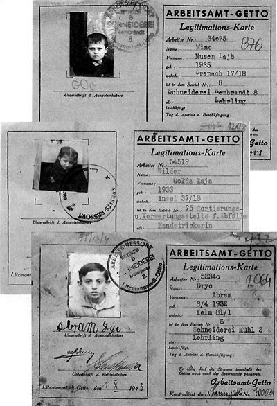 Identity/employment cards of Jewish child slave labourers issued in the Lodz Ghetto