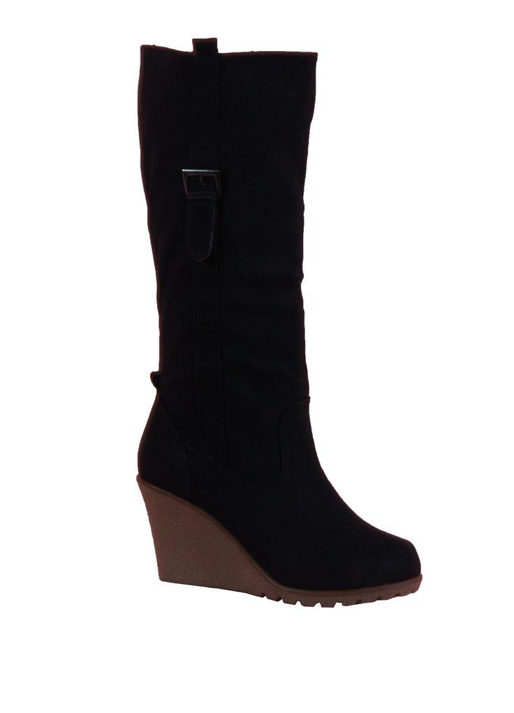 Chaussure Femme Pas Cher Botte Compensée Fourrée Noire Cy009