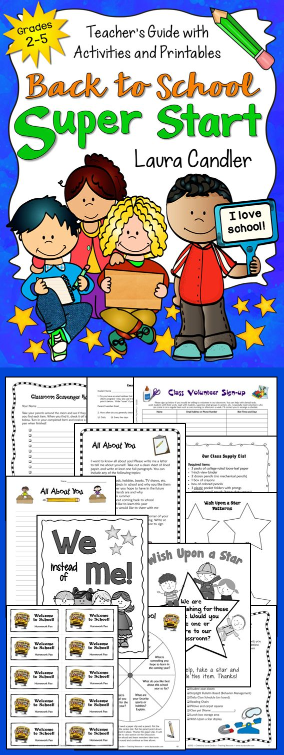 Back to School Super Start from Laura Candler... Put your students on the track to success right from from the first day of school! Includes management ideas, icebreaker activities, printables, and more! $