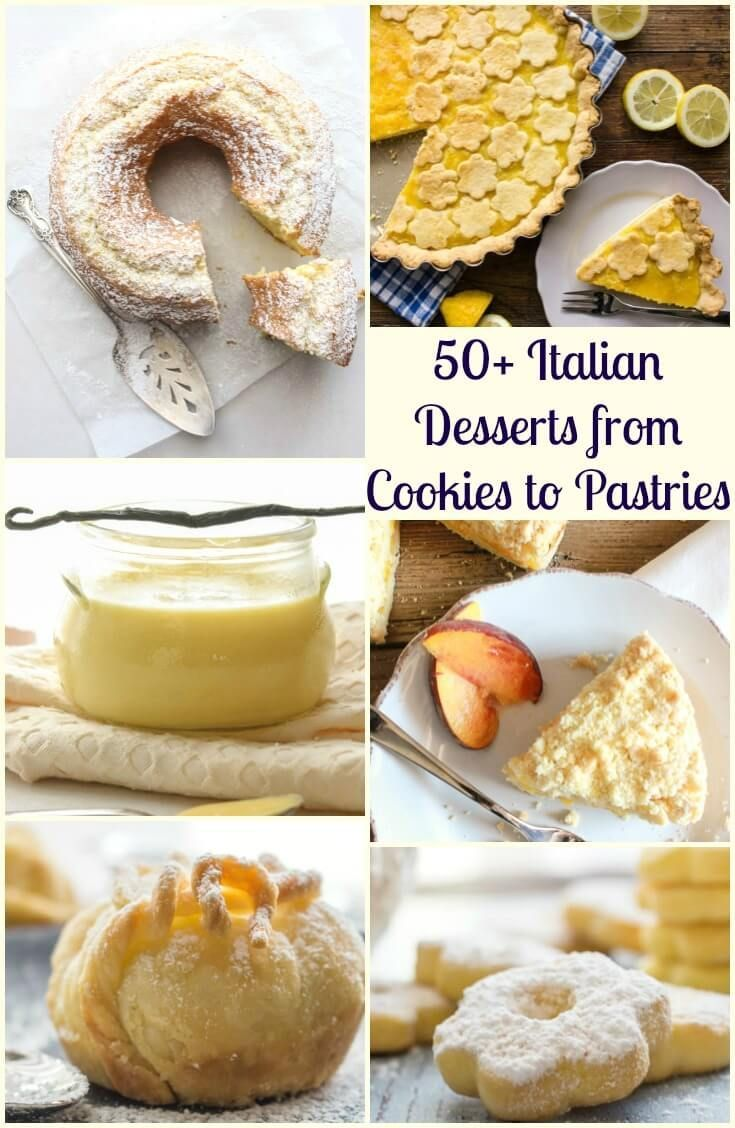 50+ Italian Desserts from cookies to pastries, creamy cakes and fast and easy no bake recipes. Tiramisu, semifreddo and everything in between. Enjoy! via /https/://it.pinterest.com/Italianinkitchn/