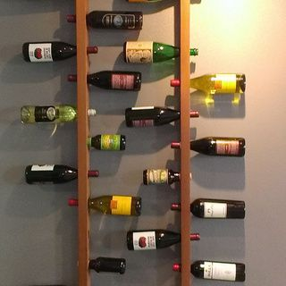 WallMounted Vertical Wood Wine Rack Recycled materials