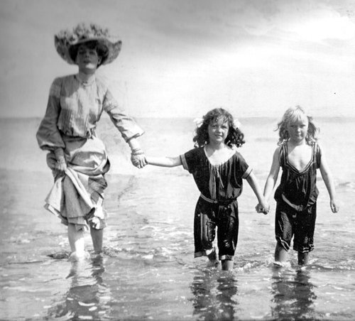"""collectivehistory:    """"Back to the sandy beach after bathing,"""" photo published in a 1903 """"L'Illustration"""" issue"""