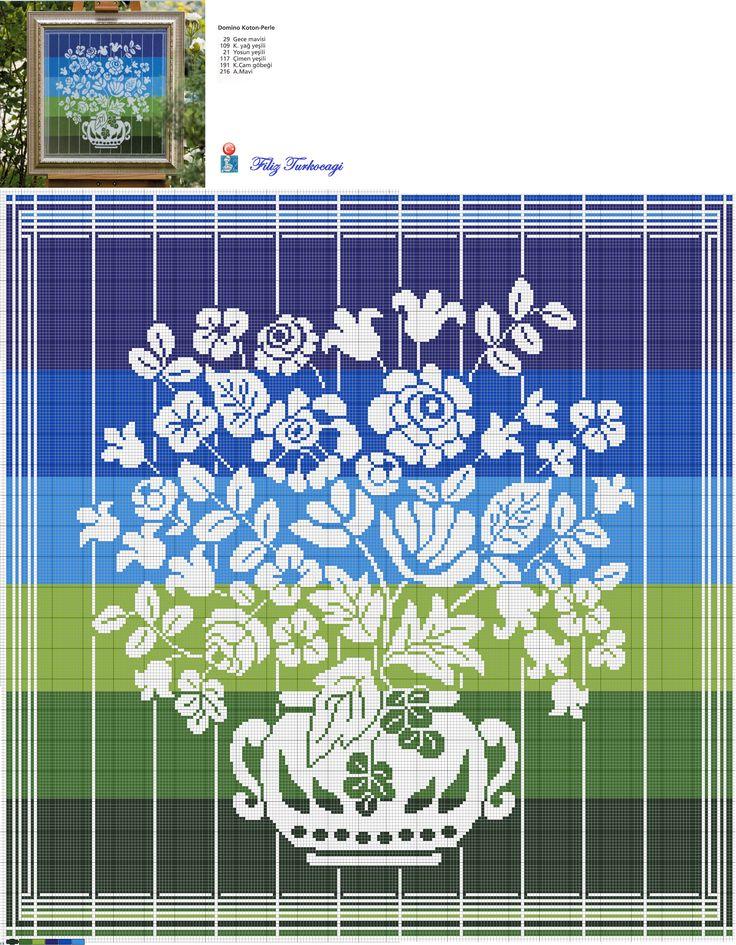 Doğada mavi ile yeşilin uyumu kadar muhteşem bir görüntü olabilir mi ?:) Designed and stitched by Filiz Türkocağı...