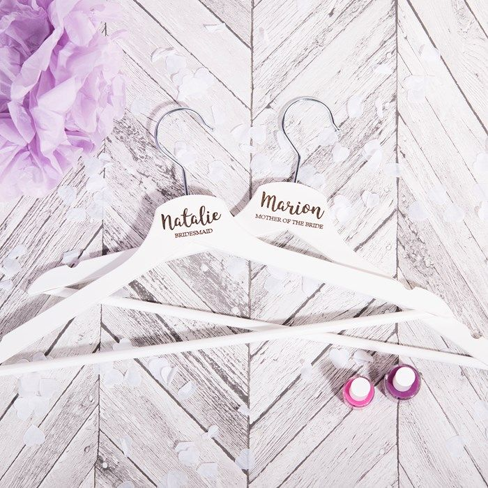Personalised White Wooden Wedding Hanger | GettingPersonal.co.uk