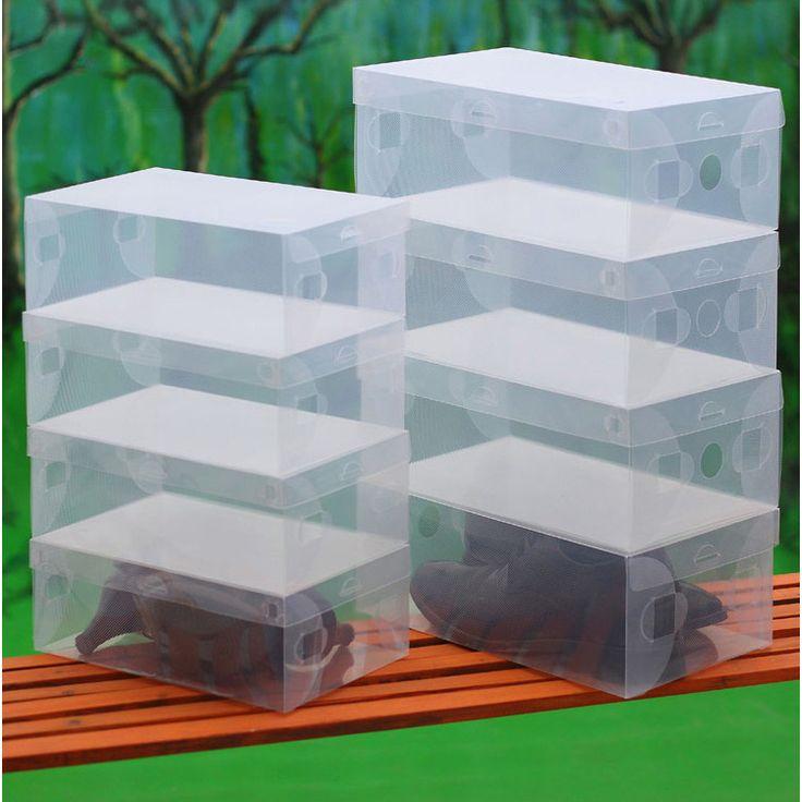 10pcs/lot Clear Foldable Plastic Shoe Storage Case Boxes Stackable Organizer De Zapatos Shoe Box