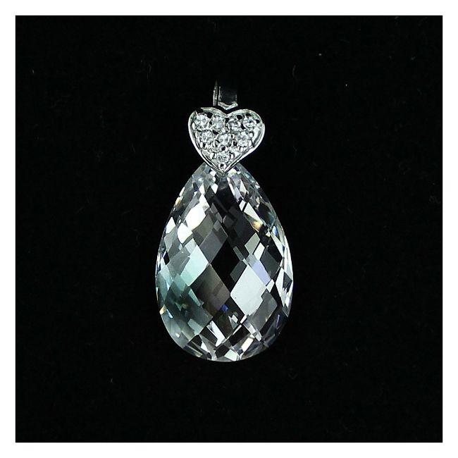 Cubic zirconia transparent drop and a silver heart set with transaprent cubic zirconias. Amazingly sparkling