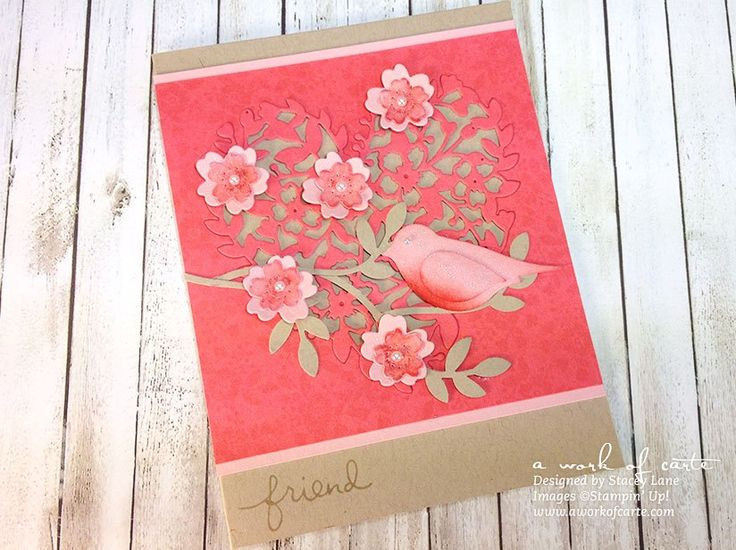 Bloomin' Hearts Bird on a Branch Valentine | A Work of Carte