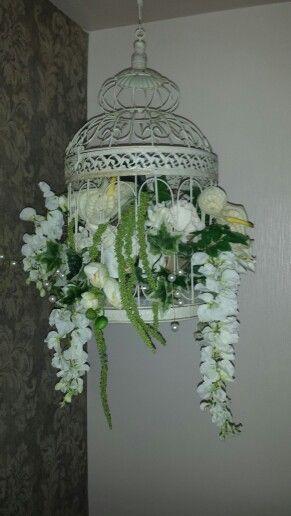 Silk flower hanging arrangement