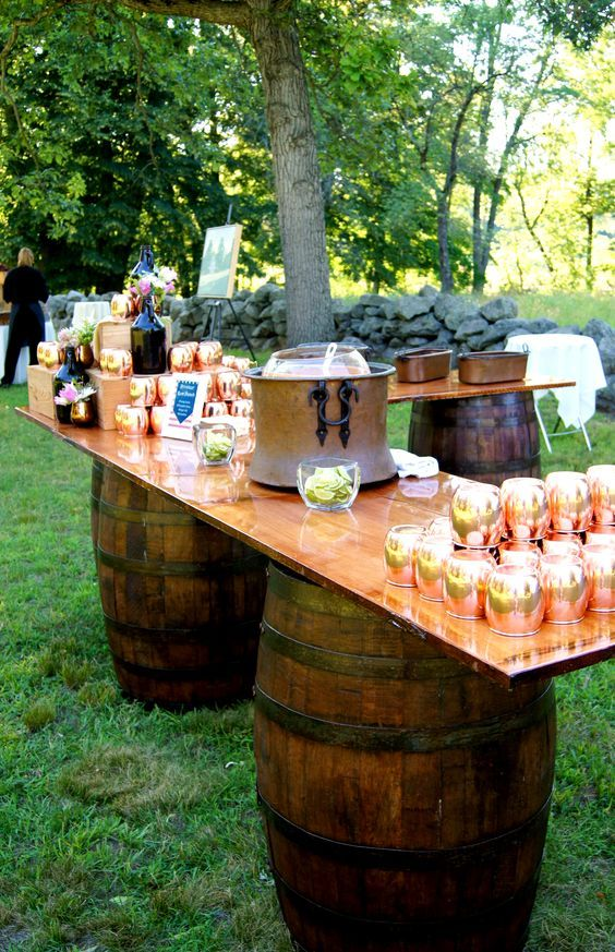 rustic country wine barrel wedding drink bar / http://www.himisspuff.com/rustic-country-wine-barrel-wedding-ideas/2/