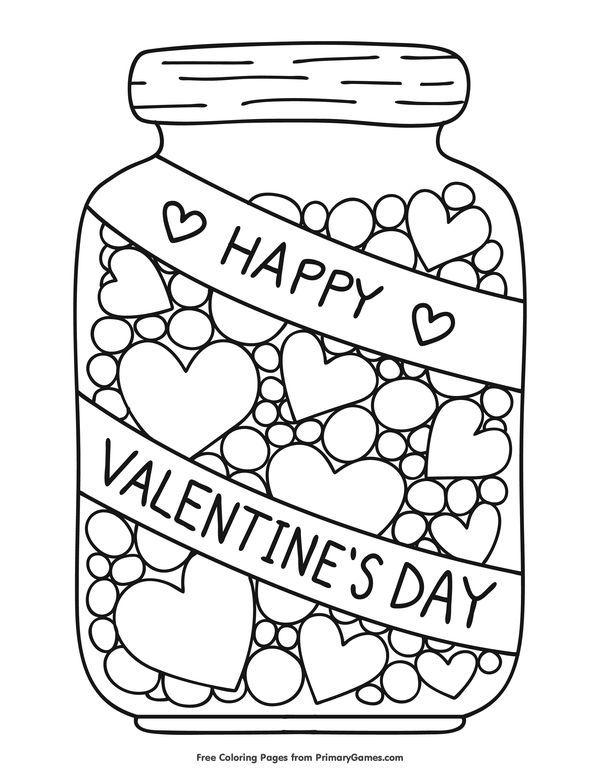 Hearts In A Jar Coloring Page Free Printable Ebook Valentine