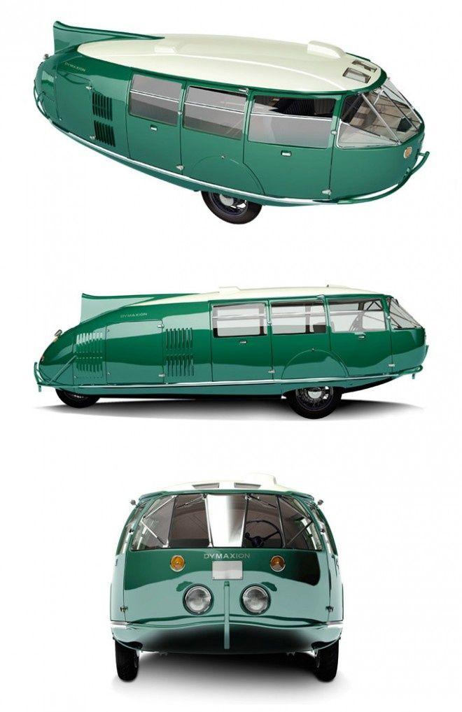 Dymaxion 1933: El Dymaxion fue diseñado por Buckminster Fuller en los años 30. Su nombre era un compuesto de las palabras 'dinámica', 'máximo' y 'ion'. El Dymaxion de tres ruedas tenía dirección trasera y tracción delantera accionado por un motor Ford. El coche podría transportar hasta 11 pasajeros, alcanzaba velocidades de hasta 90 km/h y rendimiento de 30 millas por galón.