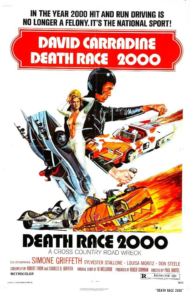 Directed by Paul Bartel.  With David Carradine, Sylvester Stallone, Simone Griffeth, Mary Woronov. In a dystopian future, a cross country automobile race requires contestants to run down innocent pedestrians to gain points that are tallied based on each kill's brutality.