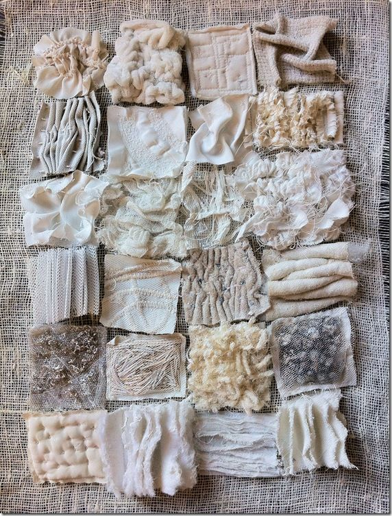 cool blog about modern embroidery and textile art    what i like: differing pattern, texture, but all in the same color - maybe good for creating a ground