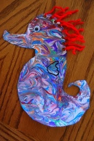 Sea horse craft! Let the kids make their very own colorful sea horse. This would be a great craft project for the kids to do at an under the sea party. They could have their sea horses join them in a fun ocean adventure!