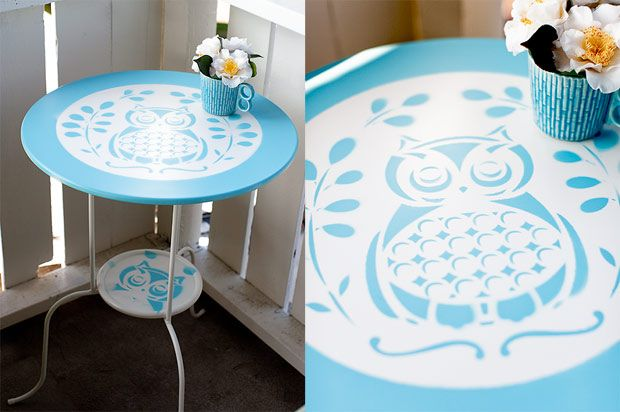 stenciled Ikea table