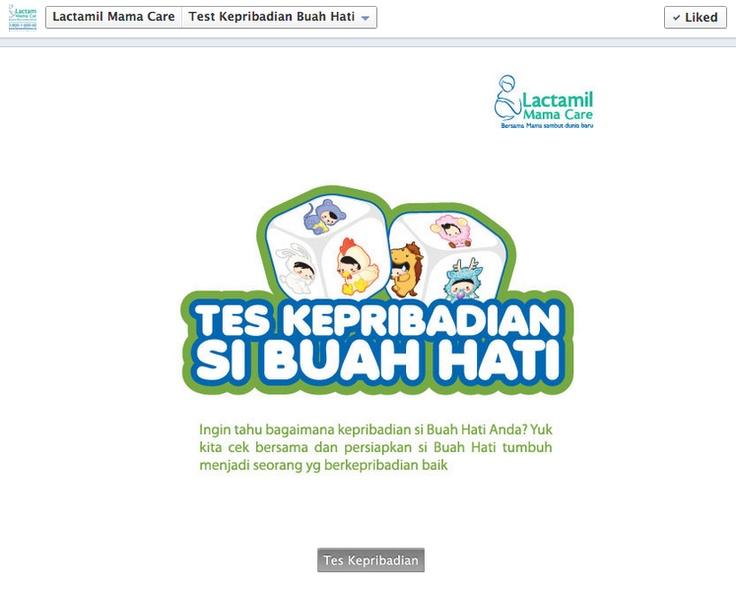 Aplikasi Tes Kepribadian Anak dari Lactamil di Facebook.  Screenshot diambil di FB Page Lactamil Mama Care.