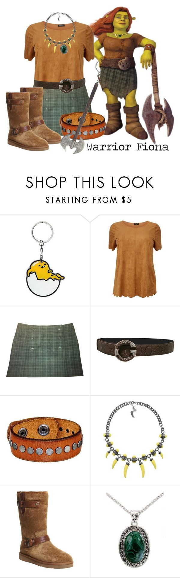 """Warrior Fiona (Shrek Forever After)"" by micuwinter ❤ liked on Polyvore featuring Comptoir Des Cotonniers, Gucci, COWBOYSBELT, UGG, NOVICA and plus size clothing"