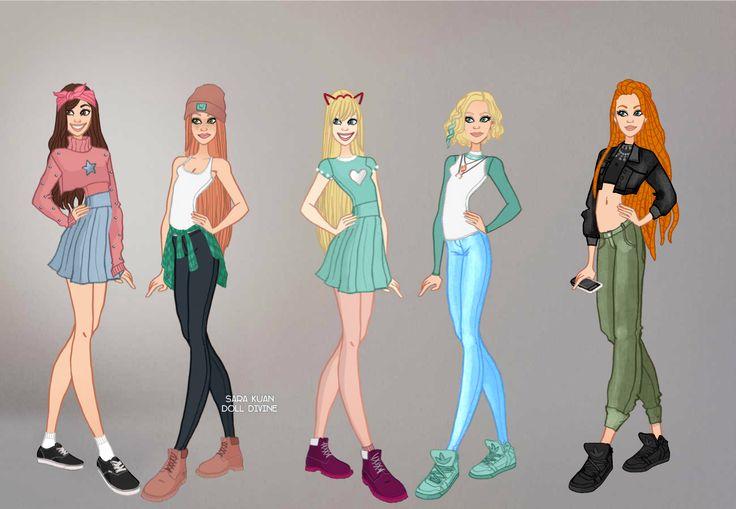 As duas primeiras versões são=Mabel e Wendy-de Gravity Falls!   A terceira e quarta são= Star Borboleta e Jackie Lynn Thomas-de Star vs. Forças do mal.   E a quinta e ultima é Kimberly Ann Possible-de Kim Possible. Todas são personagens da Disney.