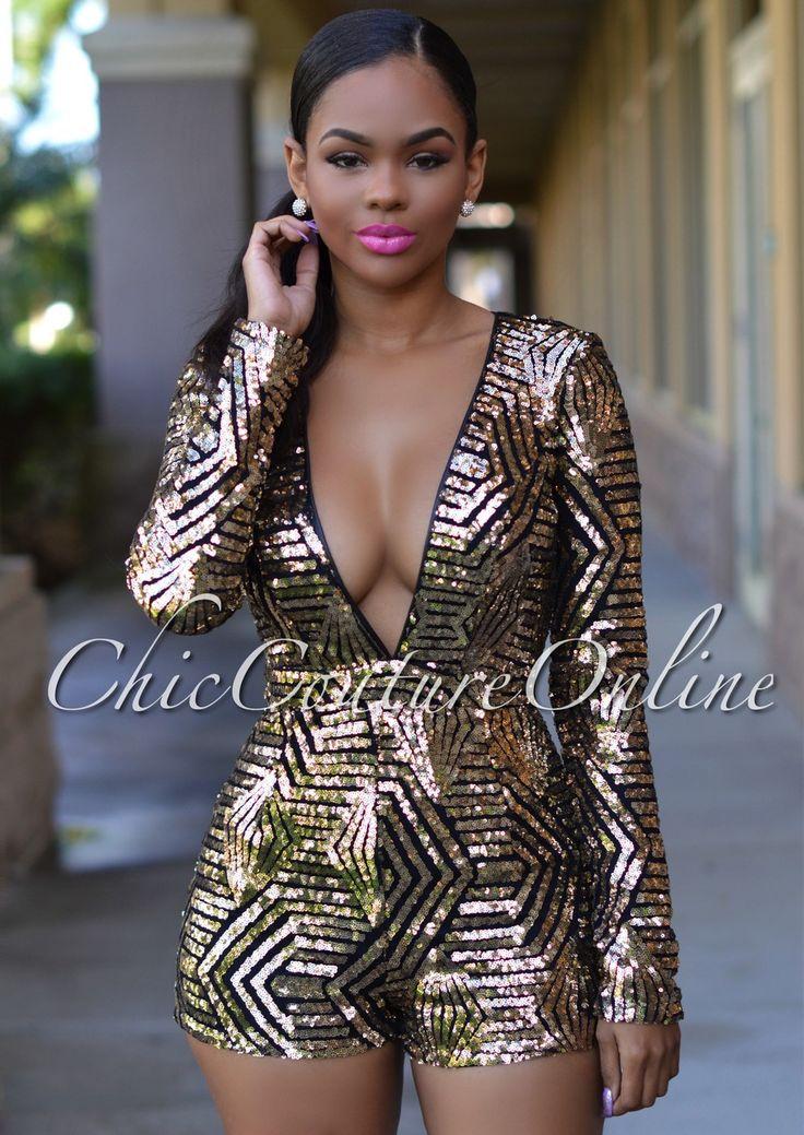 Chic Couture Online Morris Black Gold Sequins Plunging V