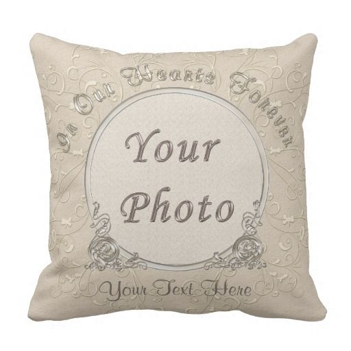Taupe Personalized PHOTO Pillows with 2 Text Boxes