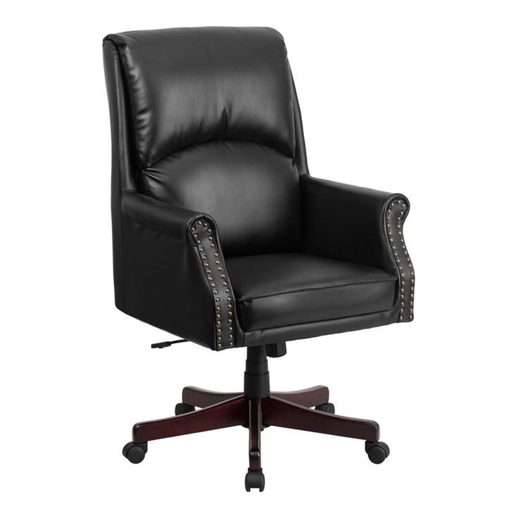 Offex High Back Pillow Back Black Leather Executive Swivel Office Chair